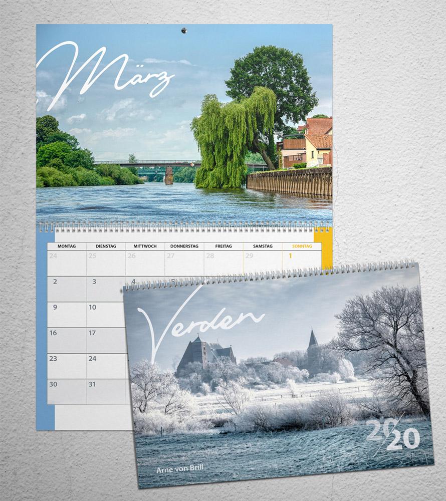 Titelseite und März aus dem Verden-Kalender 2020
